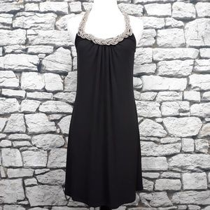 Spense Elegant Jeweled Collar Knit Halter Dress